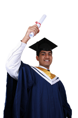 Young Indian graduation picture isolated. 版權商用圖片