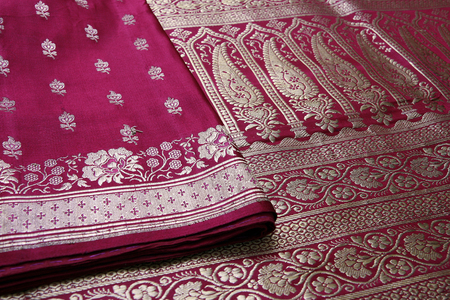Closeup of golden embroidery on Indian saree. 版權商用圖片