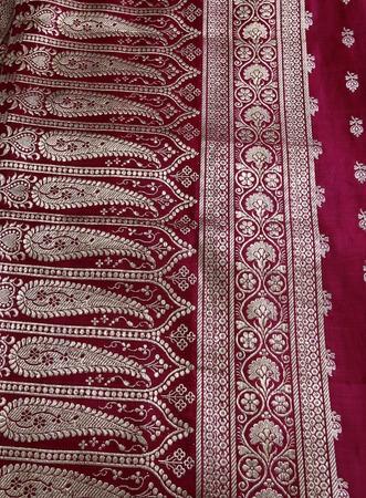 Closeup of golden embroidery on Indian saree. Stock Photo - 1614362
