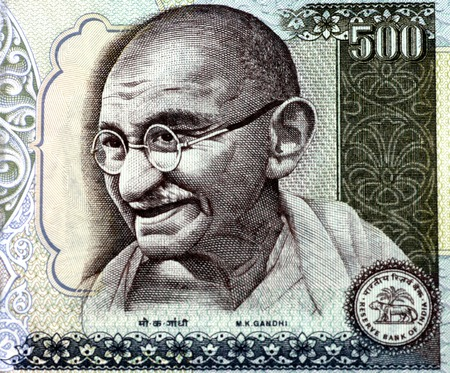 Mahatma Gandhi on a 500 Rupee note.