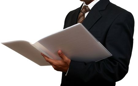 Indian business man looking at a file