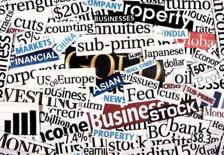 Financial newspaper cuttings. Stock Photo - 2064247