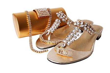 female sexy chains: Ladies golden accessories set