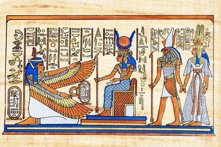 Isis and winged Maat together with Horus and Nefertari. Stock Photo