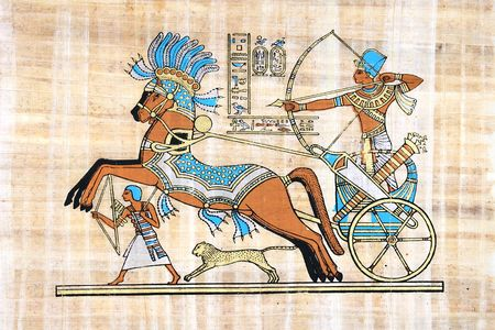 hieroglyphics: Egyptian Papyrus (War Scene With Rameses Seated In His Chariot)
