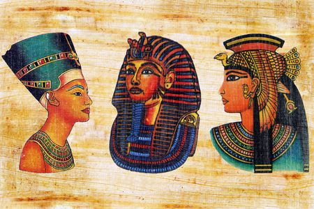 Nefertiti, Mask of tutankhamun and Queen Cleopatra on a papyrus.