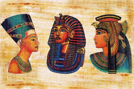Nefertiti, Mask of tutankhamun and Queen Cleopatra on a papyrus.