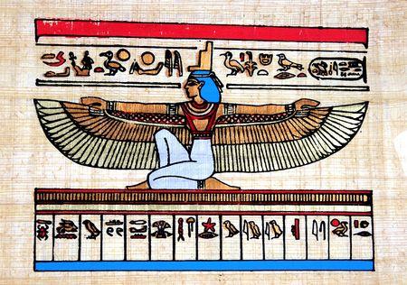 egyptian pyramids: Egyptian Papyrus (Goddess Isis)