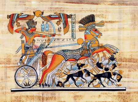 The king Tutankhamun is fighting the invaders of his country on his chariot.