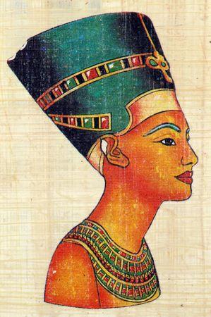 Queen Nefertiti on Papyrus Stock Photo