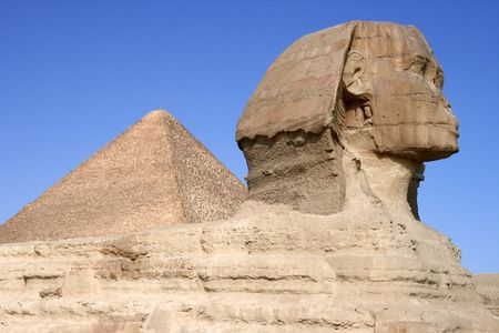 Sphinx and the pyramid in Giza photo