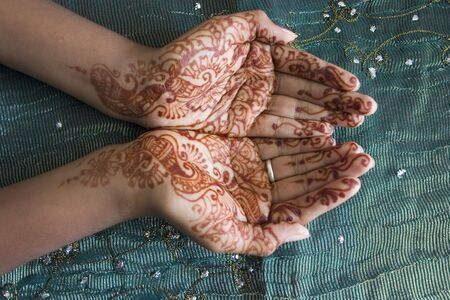 tribal woman: Hands with Henna Design
