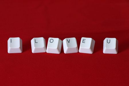 love words: The word �I Love u� formed with keyboard keys Stock Photo