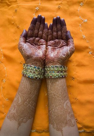 Hands of a Indian bride with henna design and bangles Stock Photo - 2783490