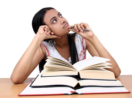 Indian student preparing for exams. photo