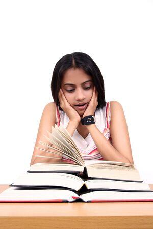 exam preparation: Indian student studying. Stock Photo