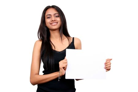 indian girl: Beautiful indian girl holding a white sign
