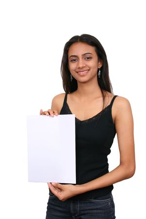 Beautiful Indian girl holding a white sign Stock Photo