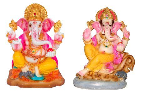 idool: Hindoe god Ganesh geïsoleerd dan wit.
