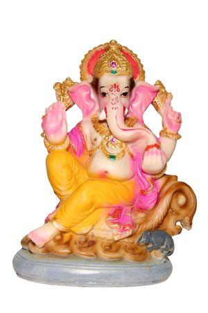 ganesh: Hindoe god Ganesh geïsoleerd dan wit.