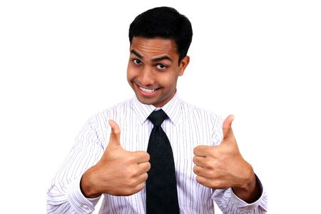 Indian business man with 2 thumbs up. photo