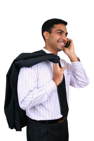 hear business call: Indian Business man using cellphone