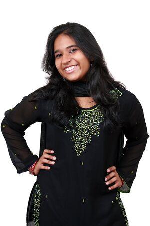 Beautiful young Pakistani girl isolated on white background. Stock Photo - 3995369