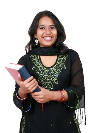 fresh graduate: Young Pakistani student holding a book. Isolated on white.
