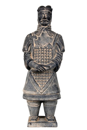 Terra-cotta warrior isolated on white background.