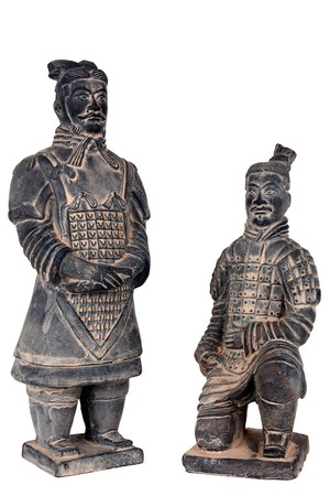 imperialism: Terra-cotta warriors isolated on white.