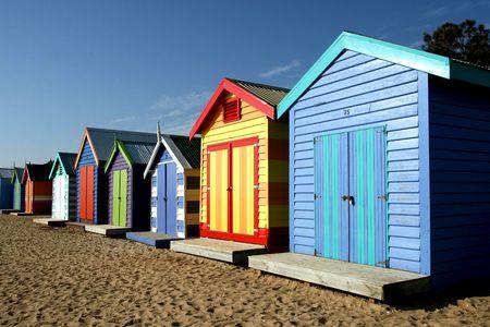 melbourne australia: Bathing boxes at Brighton beach, Melbourne
