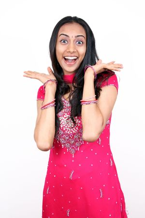 indian woman traditional: Young teenager jumping with happiness.