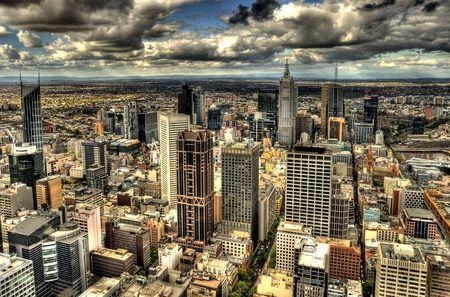 melbourne: Melbourne Cityscape in HDR. Stock Photo