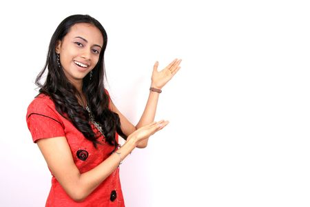 adult indian: Beautiful teenage girl on a white background. Perfect for advertisement