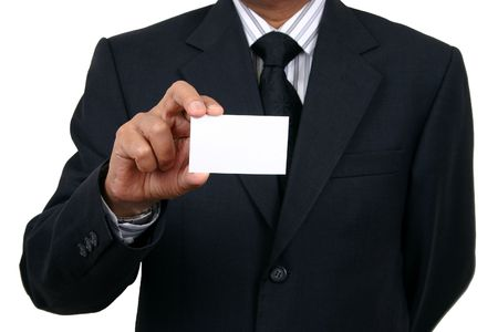 smartness: Business man holding a name card
