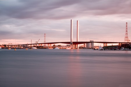 docklands: View of Bolte bridge in Melbournes docklands. Stock Photo