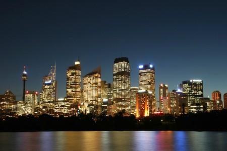 sydney australia: Sydney City at night. Stock Photo