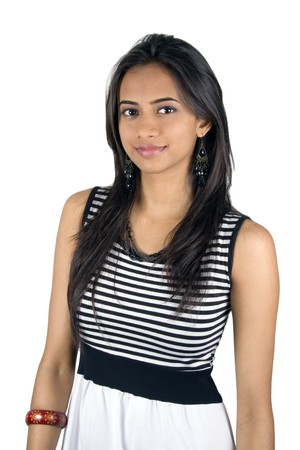 bollywood woman: Young Indian girl isolated on a white background.