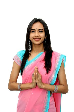 namaste: Young indio en una pose de namaste(greeting)