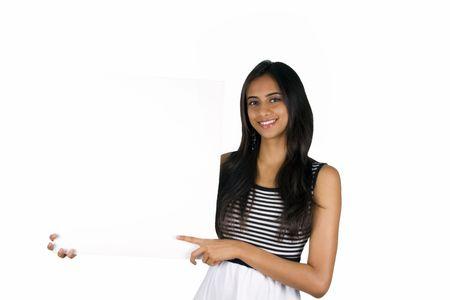 display board: Beautiful Indian girl holding a white board.