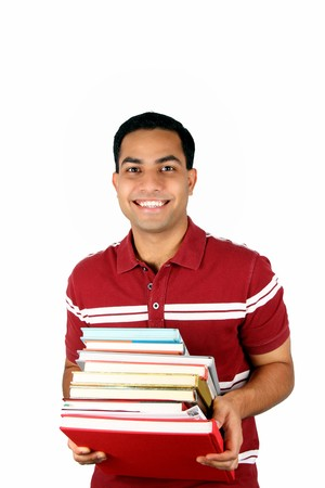 Young male student holding books. Isolated on a white background. Stock Photo