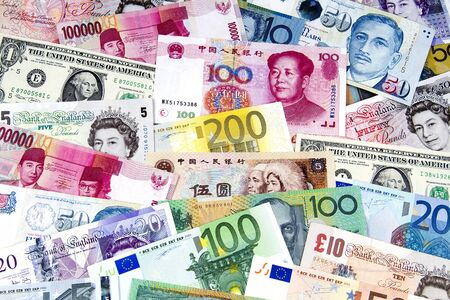 american currency: A collection of various currencies from countries around the world.