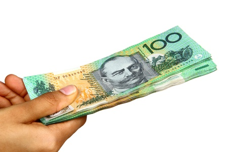 Australian Currency isolated on white. Stock Photo