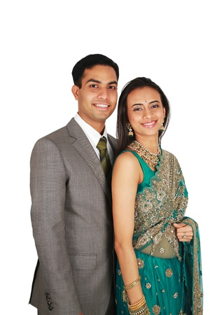 Indian couple in traditional wear. Isolated on white background. Stock Photo