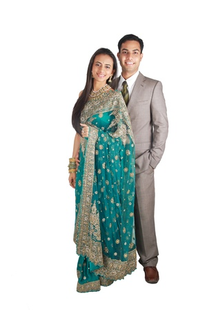 indian couple: Indian couple in traditional wear. Isolated on white background. Stock Photo