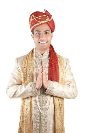 Indian in traditional clothes. Isolated on a white background.