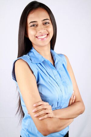 Portrait of a young business woman with a smile. Stock Photo