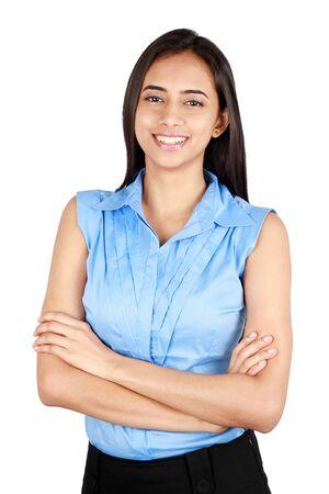 태도: Portrait of a young business woman with a smile. 스톡 사진