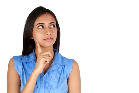 thoughtful woman: Young thoughtful business woman over white background. Stock Photo