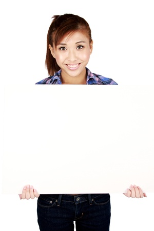 Young Asian woman with a white sign board. Isolated on white.